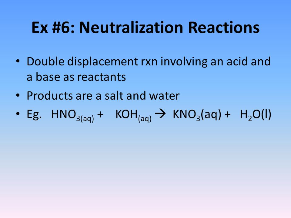 the neutralization reaction as a double displacement reaction essay With double replacement reactions you generally either get: 1) a neutralization  reaction h c l ( a q )  gas displacement c a c o x  do redox reactions count.