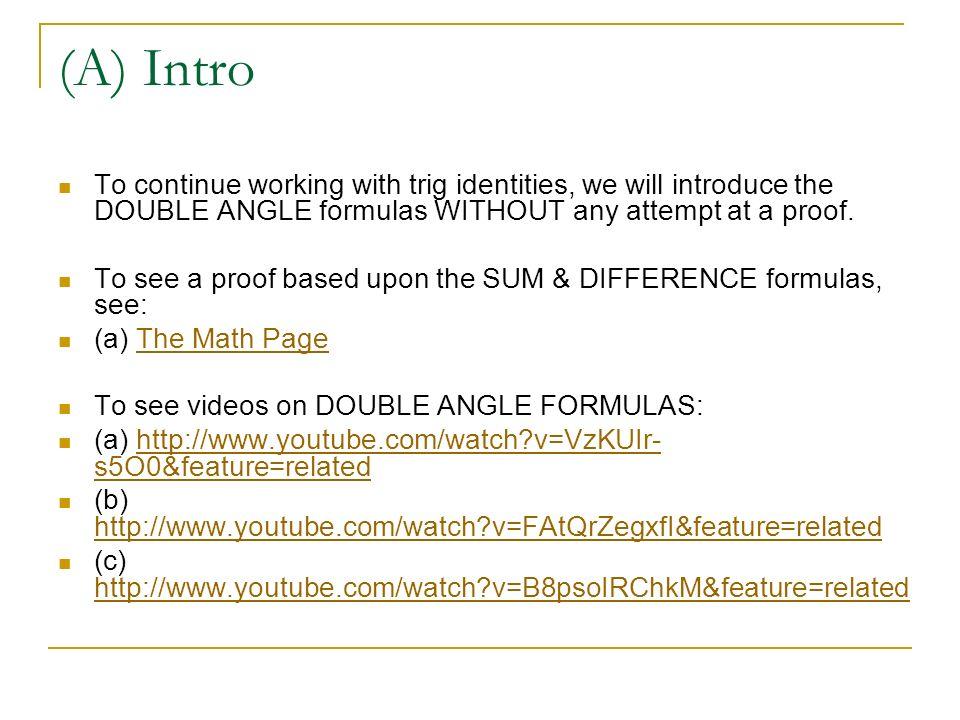 T.3.3 – Trigonometric Identities – Double Angle Formulas - ppt video ...