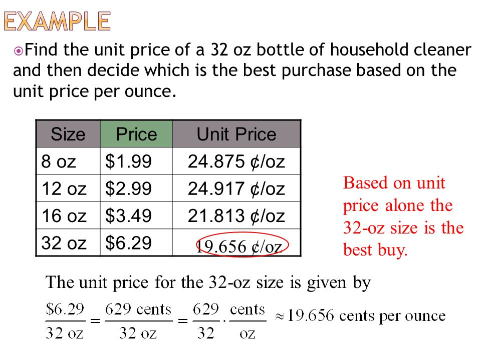 Find the Unit Prices | 6th Grade Ratio Worksheets