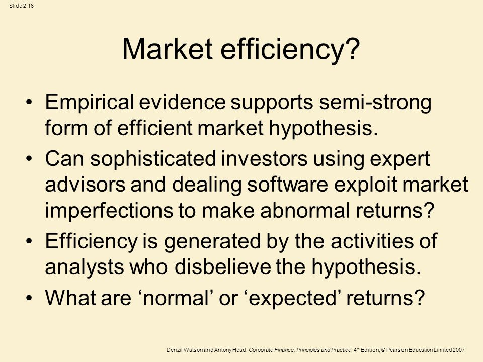 empirical evidence for the efficient market The efficient market the debate about efficient markets has resulted in hundreds and thousands of empirical studies market efficiency is a.