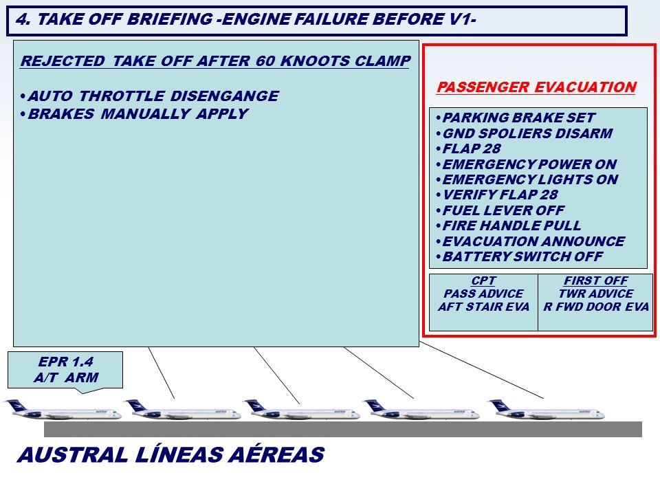 AUSTRAL LÍNEAS AÉREAS 4. TAKE OFF BRIEFING -ENGINE FAILURE BEFORE V1-