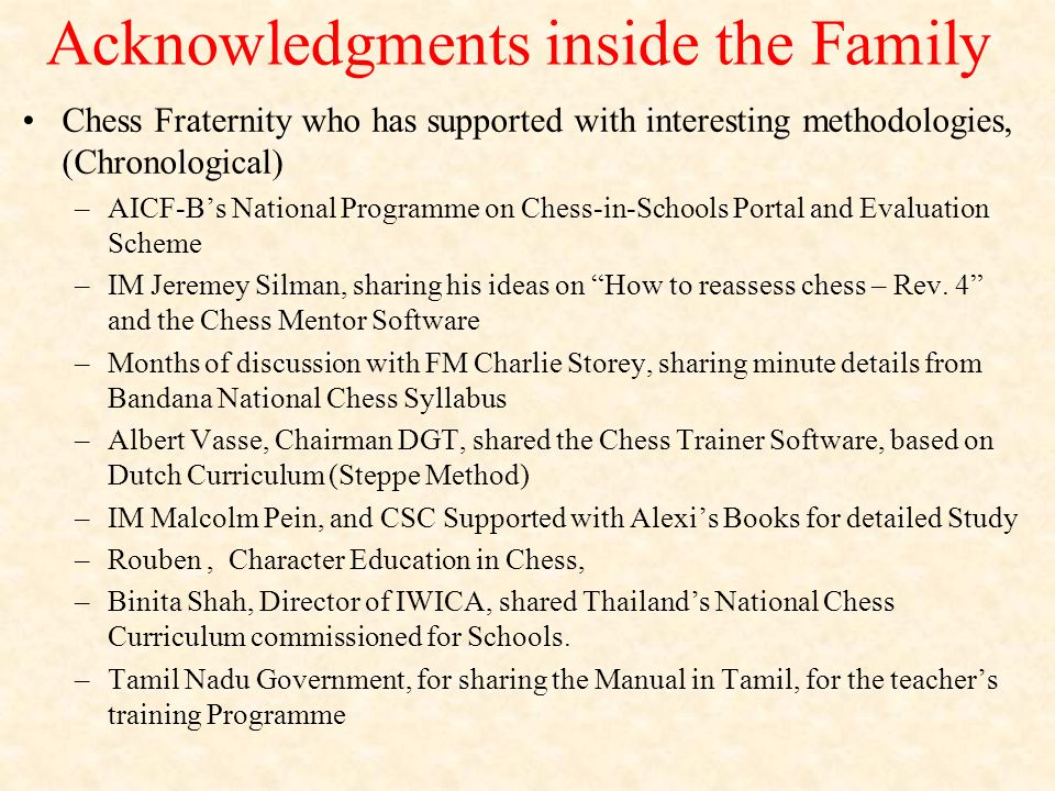 Acknowledgments inside the Family