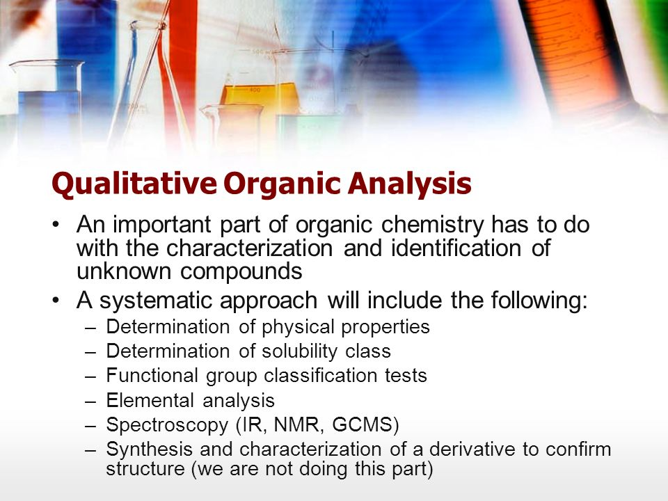 identification of unknown organic compounds