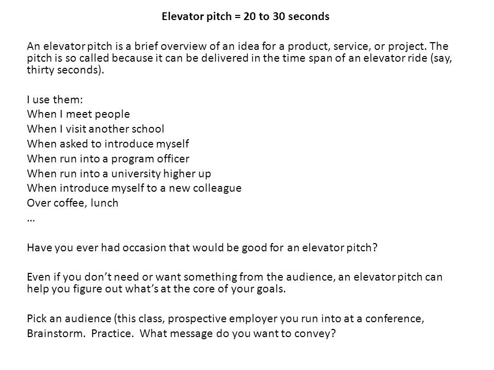 Elevator pitch 20 to 30 seconds ppt download for 30 second pitch template