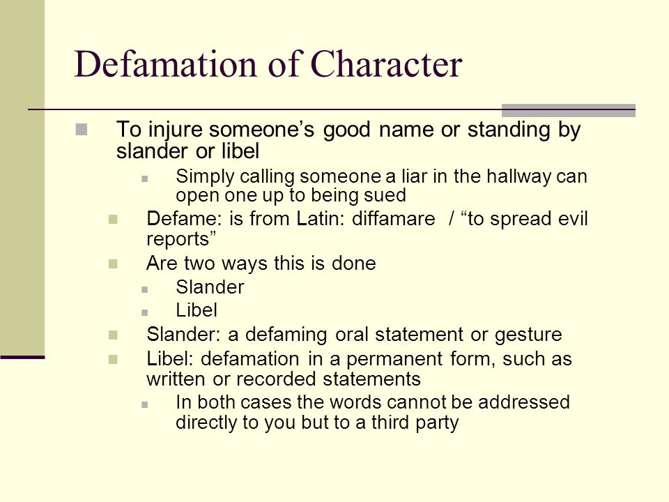 how to write a letter of defamation of character