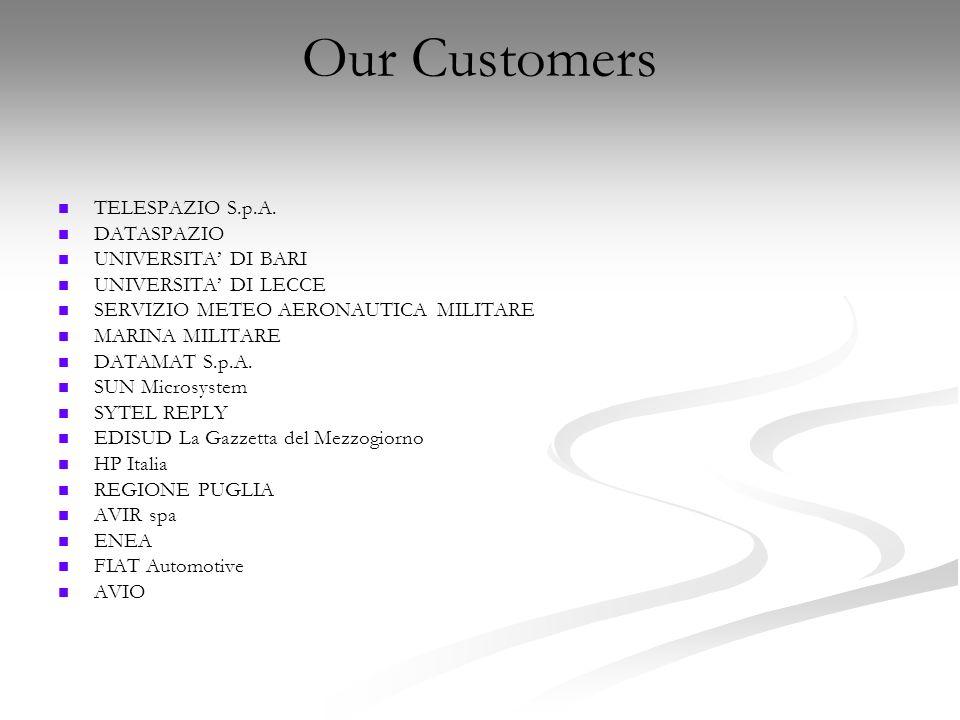 Our Customers TELESPAZIO S.p.A. DATASPAZIO UNIVERSITA' DI BARI