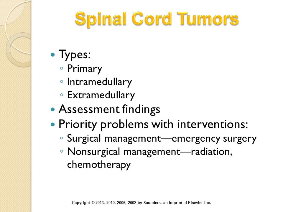 Spinal Cord Tumors Types: Assessment findings