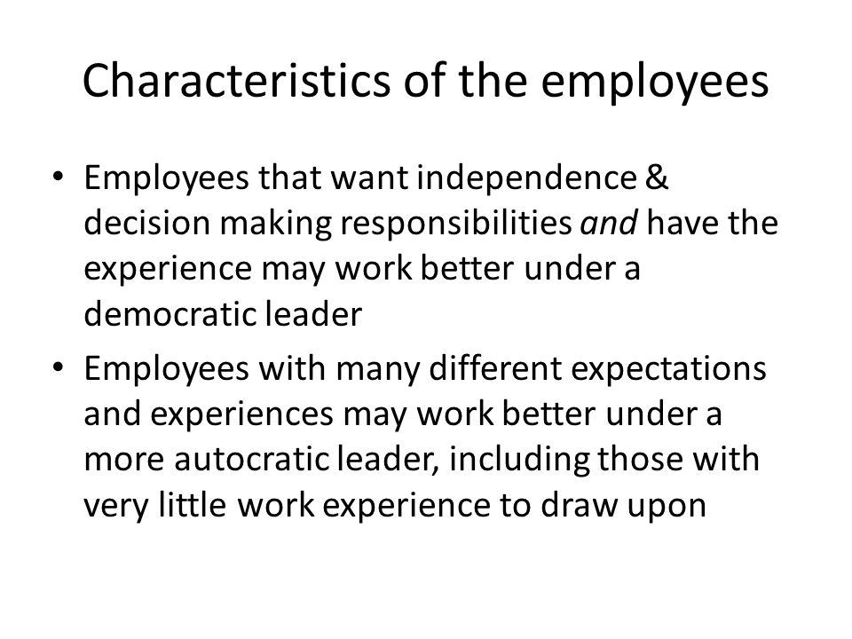 Characteristics of the employees