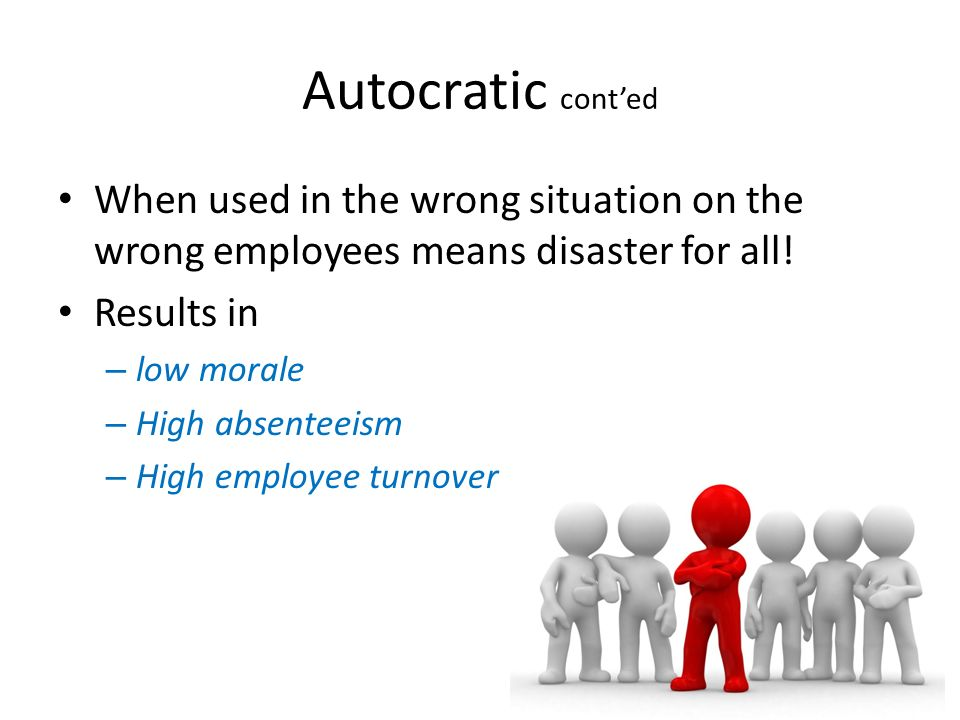 Autocratic cont'ed When used in the wrong situation on the wrong employees means disaster for all! Results in.