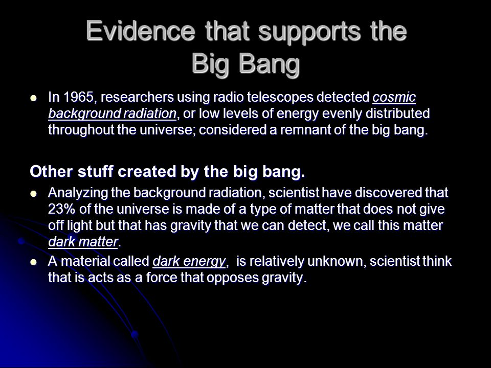 evidence for the big bang essay Big bang theory essay - free download as word doc (doc / docx), pdf file (pdf), text file (txt) or read online for free.