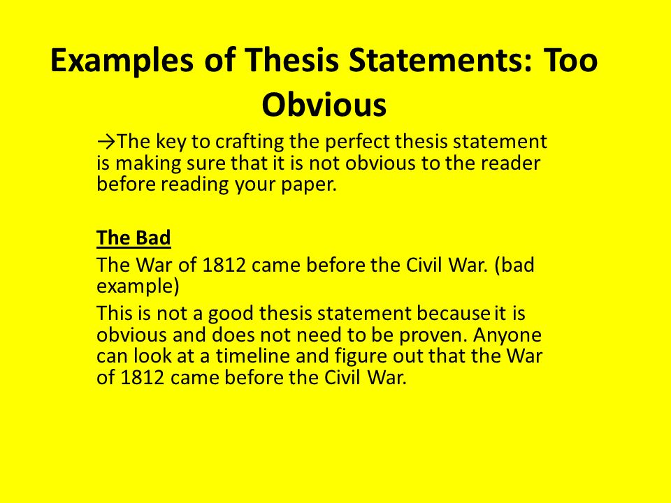 Thesis statement bad examples