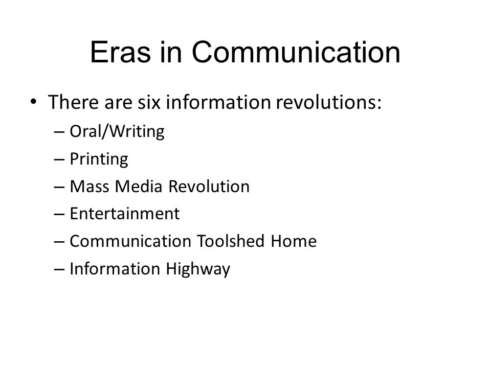 "five eras of mass communication essay Television networks—abc, cbs, nbc, cnn, and fox—rendered five  predominant frames: the violence  relationship between social movements and  the mass media, which is bracketed by journalistic norms  theless, seattle  marked a new era of high-profile protests against these powerful  in her essay,  ""of magenta."