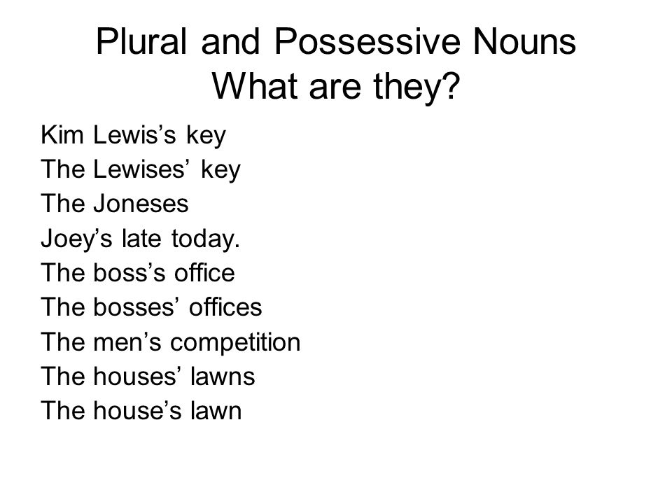 Plural and possessive nouns ppt video online download for Bureau plural