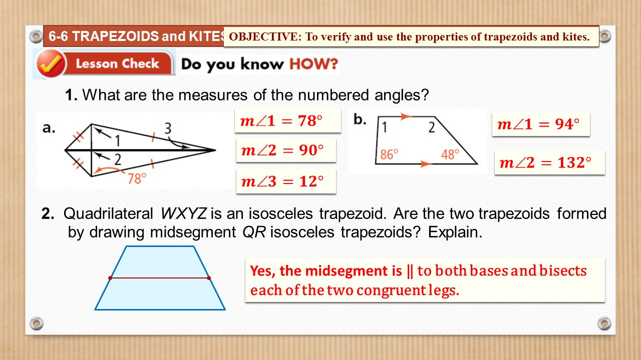 The parallel sides of a trapezoid are called bases ppt video finding angle measures in kites 12 1 ccuart Choice Image