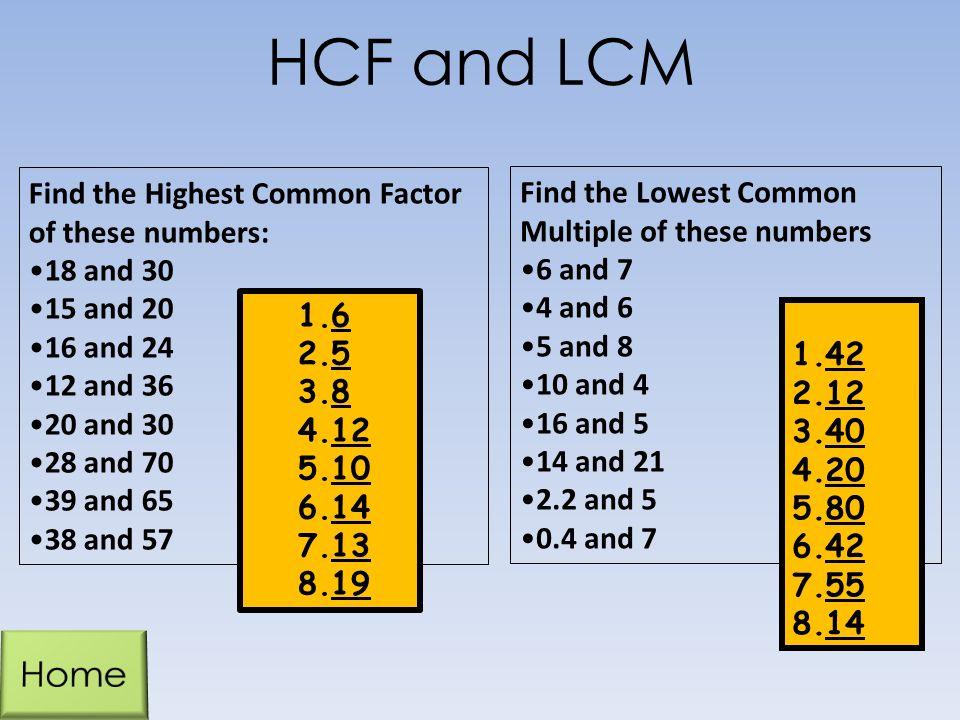 how to find the highest common multiple