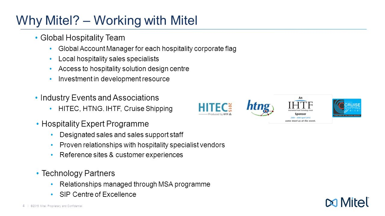 4 why mitel working with mitel global hospitality team global account manager - Global Account Manager