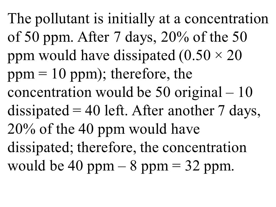 The pollutant is initially at a concentration of 50 ppm
