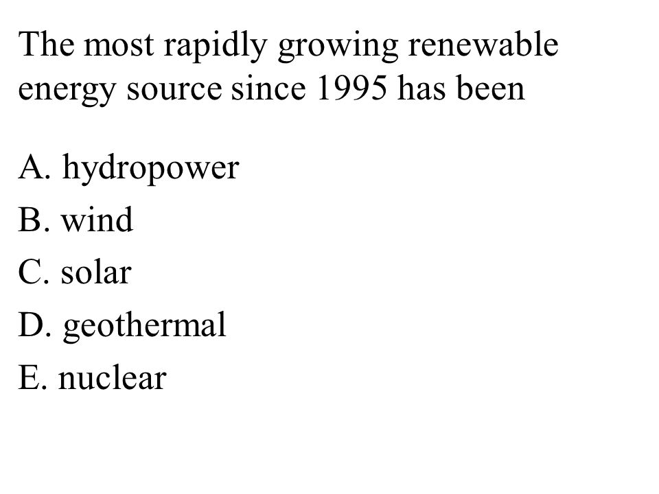 The most rapidly growing renewable energy source since 1995 has been A