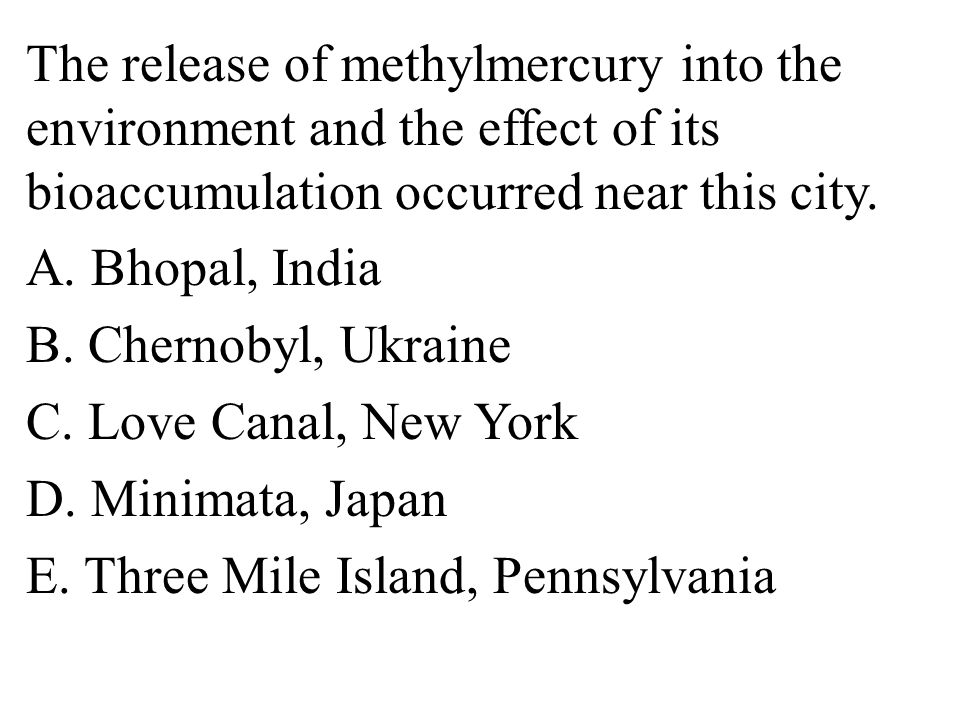 The release of methylmercury into the environment and the effect of its bioaccumulation occurred near this city.