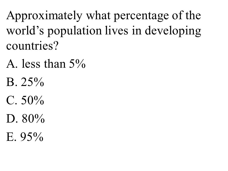 Approximately what percentage of the world's population lives in developing countries.