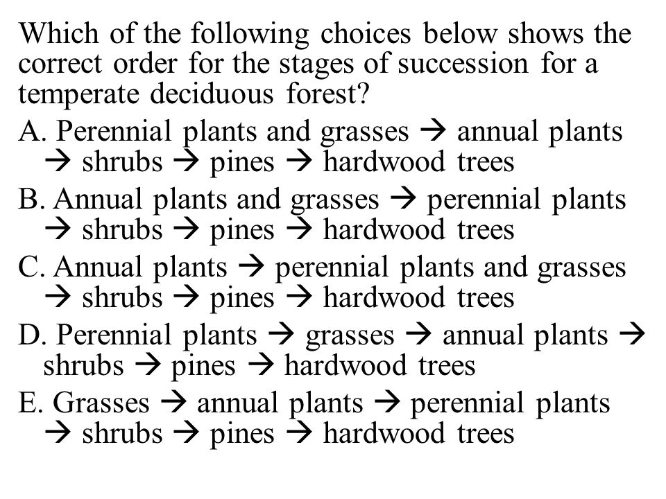 Which of the following choices below shows the correct order for the stages of succession for a temperate deciduous forest.