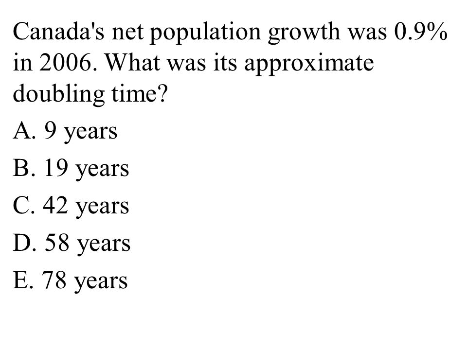 Canada s net population growth was 0. 9% in 2006