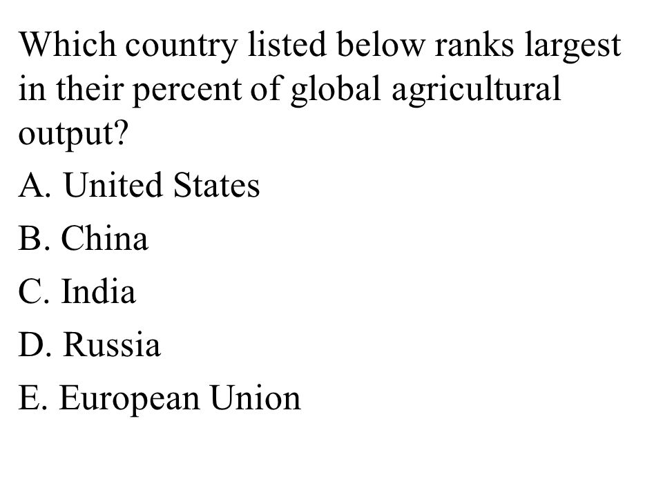 Which country listed below ranks largest in their percent of global agricultural output.