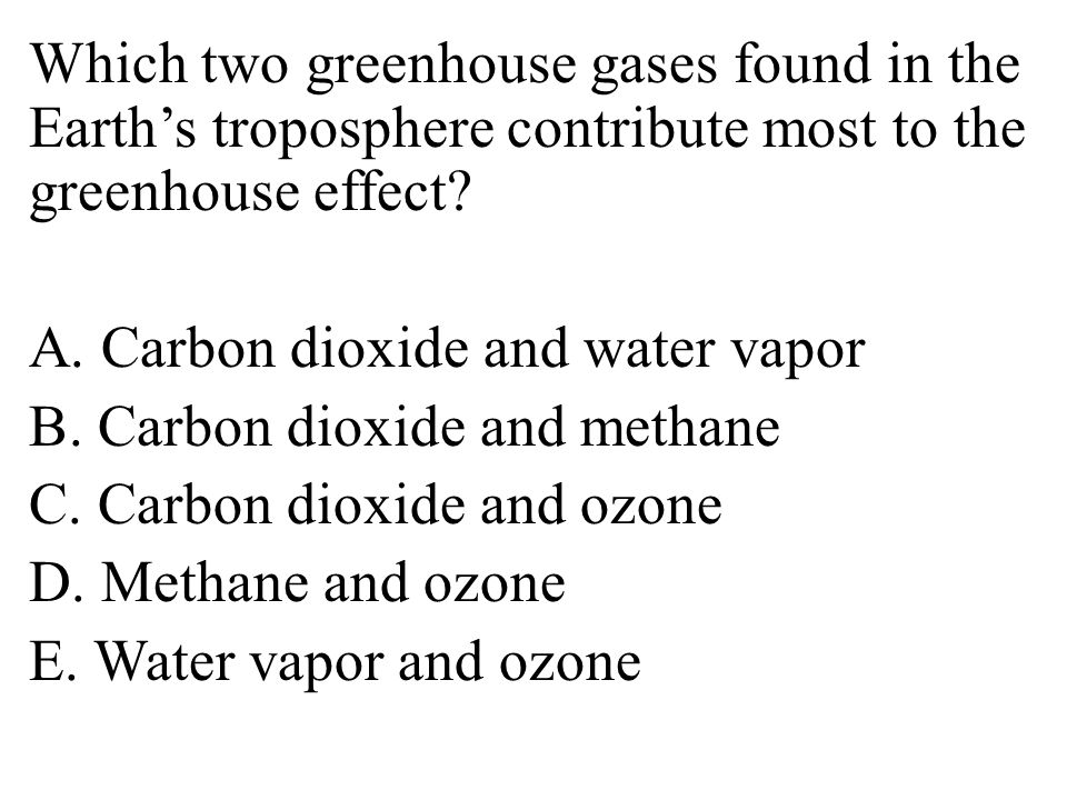 Which two greenhouse gases found in the Earth's troposphere contribute most to the greenhouse effect.