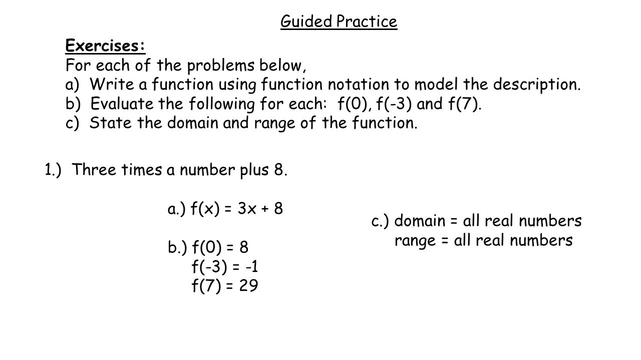 Worksheets Function Notation Worksheet unit 3 an introduction to functions ppt video online download guided practice exercises for each of the problems below a write function