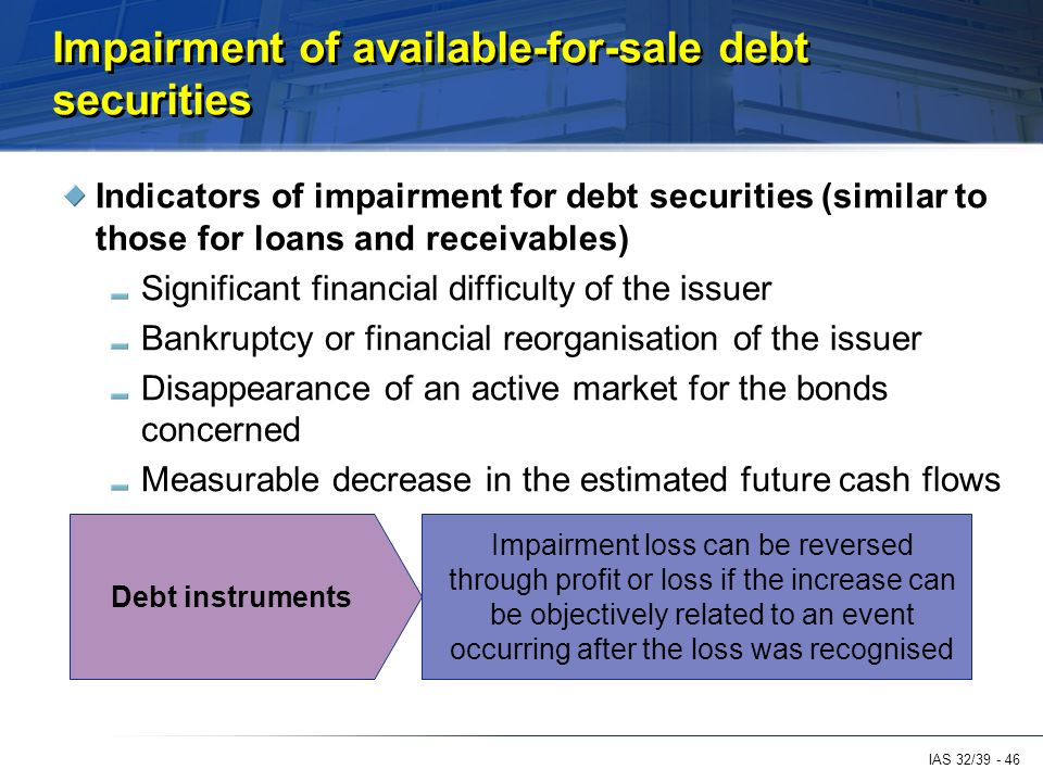 a case study on the impaired debt securities for company a Financial crimes report 2010-2011 financial crimes report to the public  these are generally short-term debt instruments issued by little-known or nonexistent.