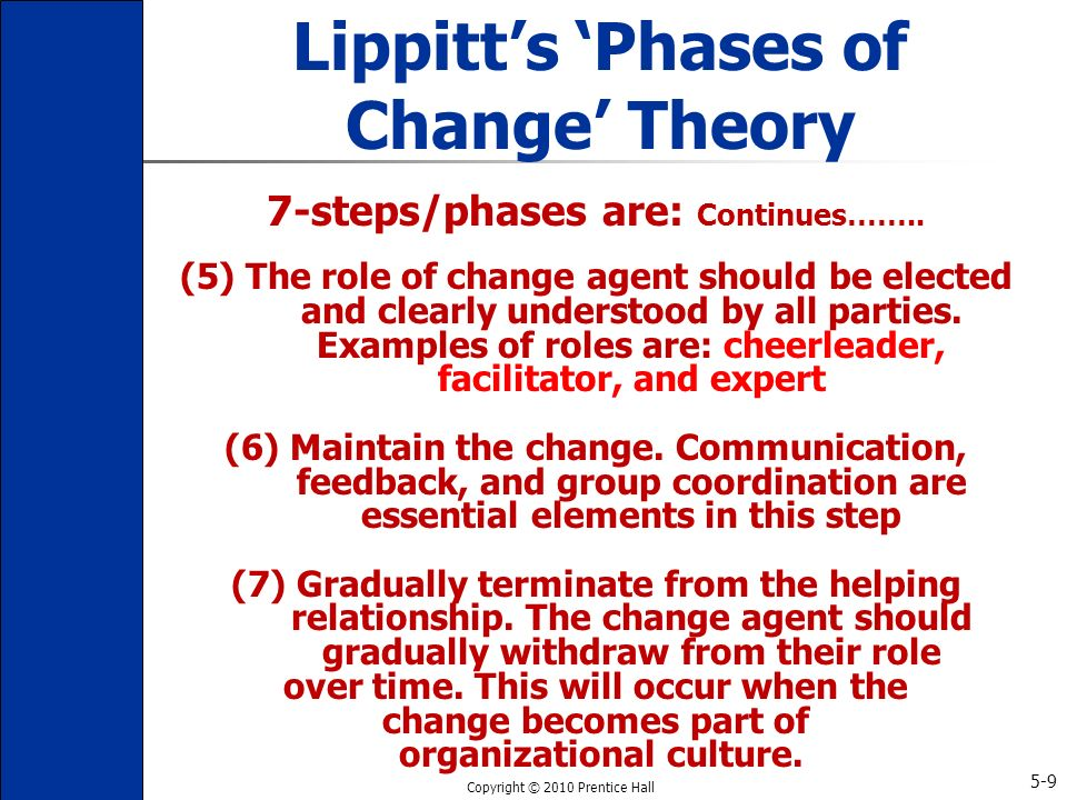 lippitt s phases of change theory Lippitt's phases of change theory lippitt, watson, and westley (1958) extend lewin's three-step change theory lippitt, watson, and westley created a seven-step theory that focuses more on the role.