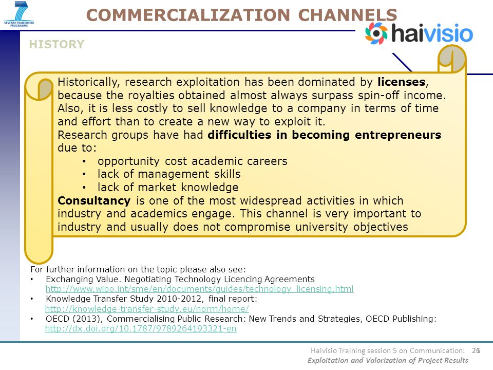 COMMERCIALIZATION CHANNELS