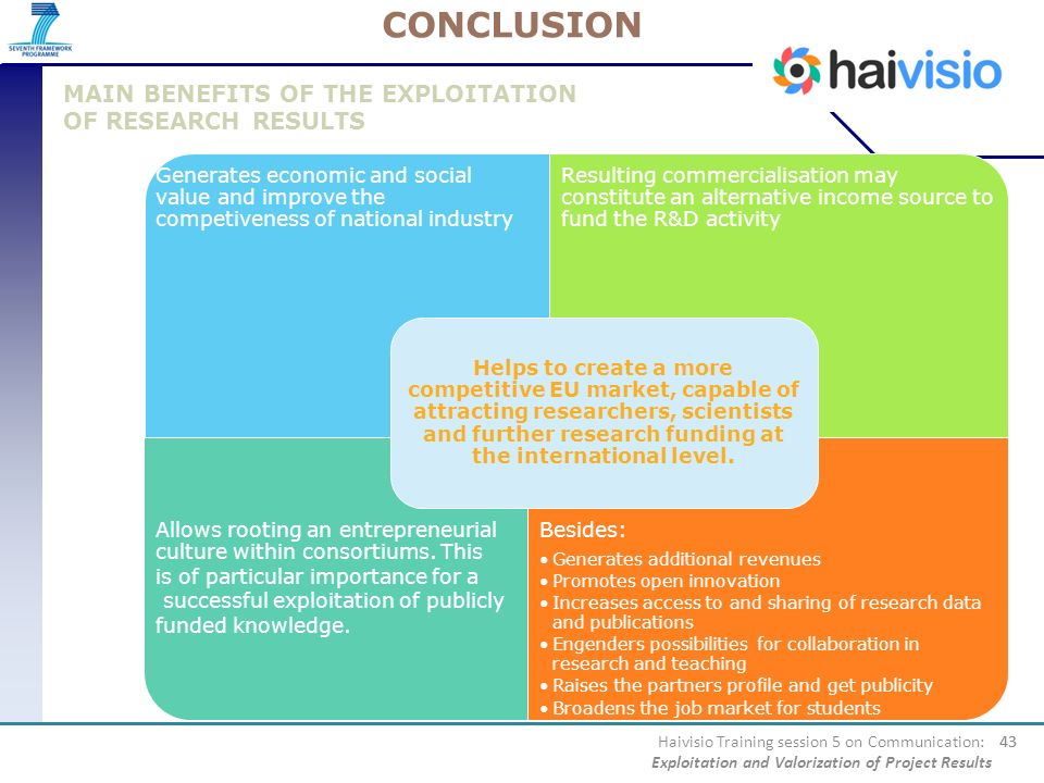 CONCLUSION MAIN BENEFITS OF THE EXPLOITATION OF RESEARCH RESULTS