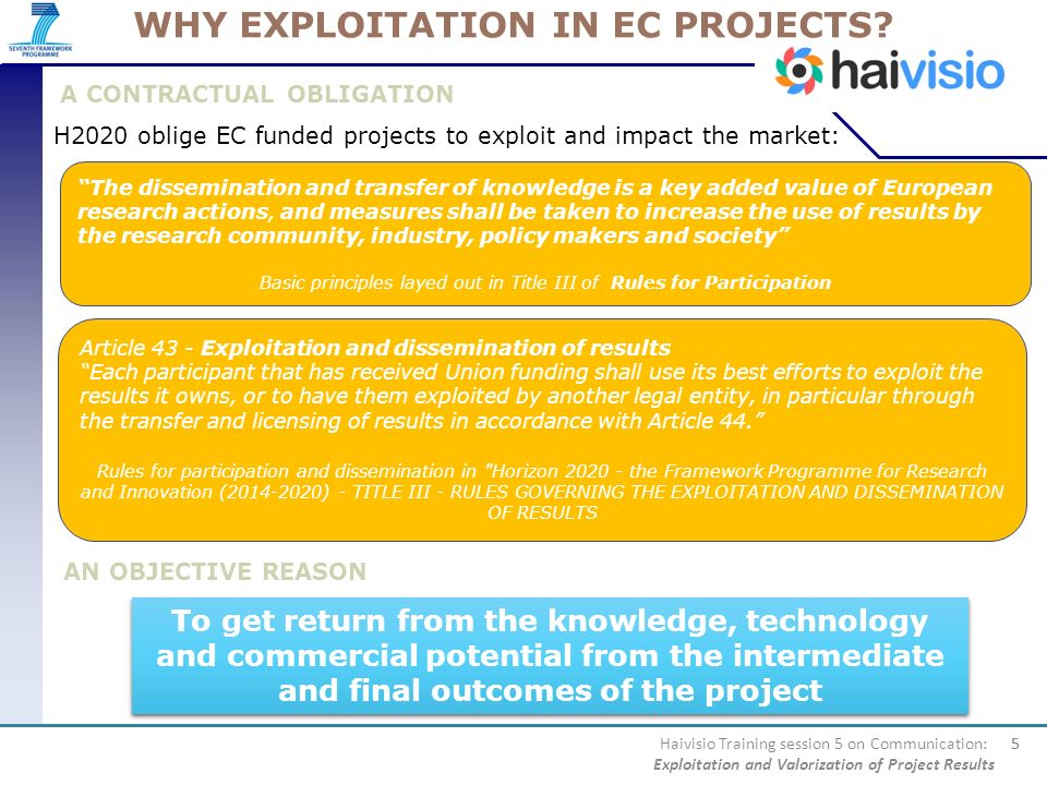 WHY EXPLOITATION IN EC PROJECTS