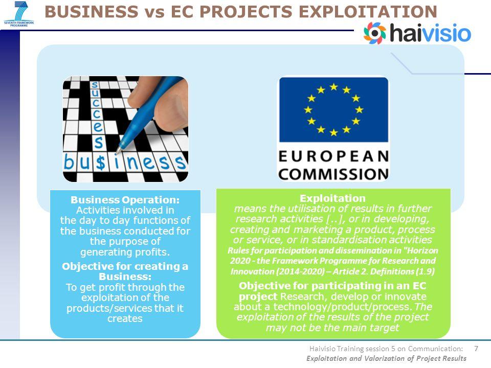 BUSINESS vs EC PROJECTS EXPLOITATION