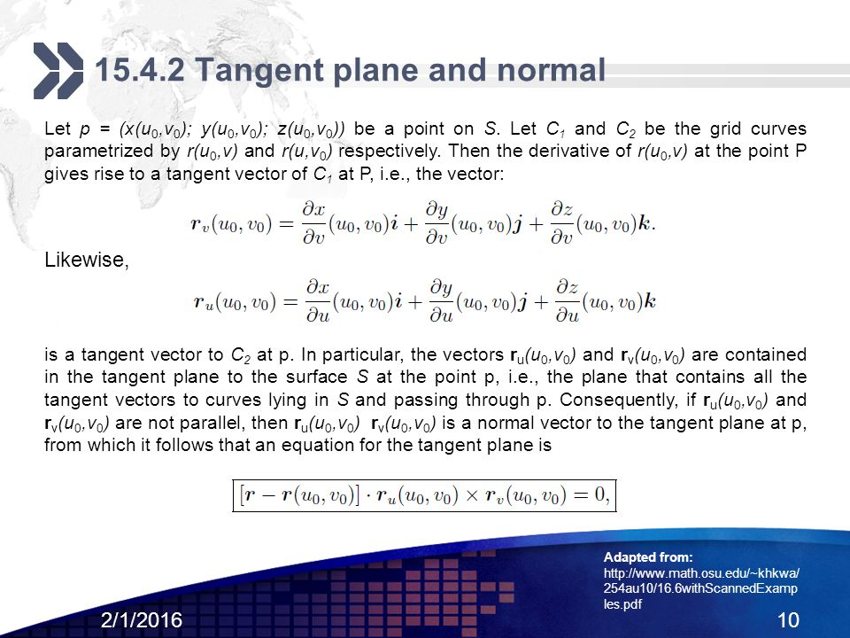 how to find an equation of the tangent plane