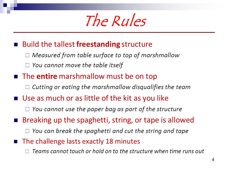 marshmallow challenge how to win