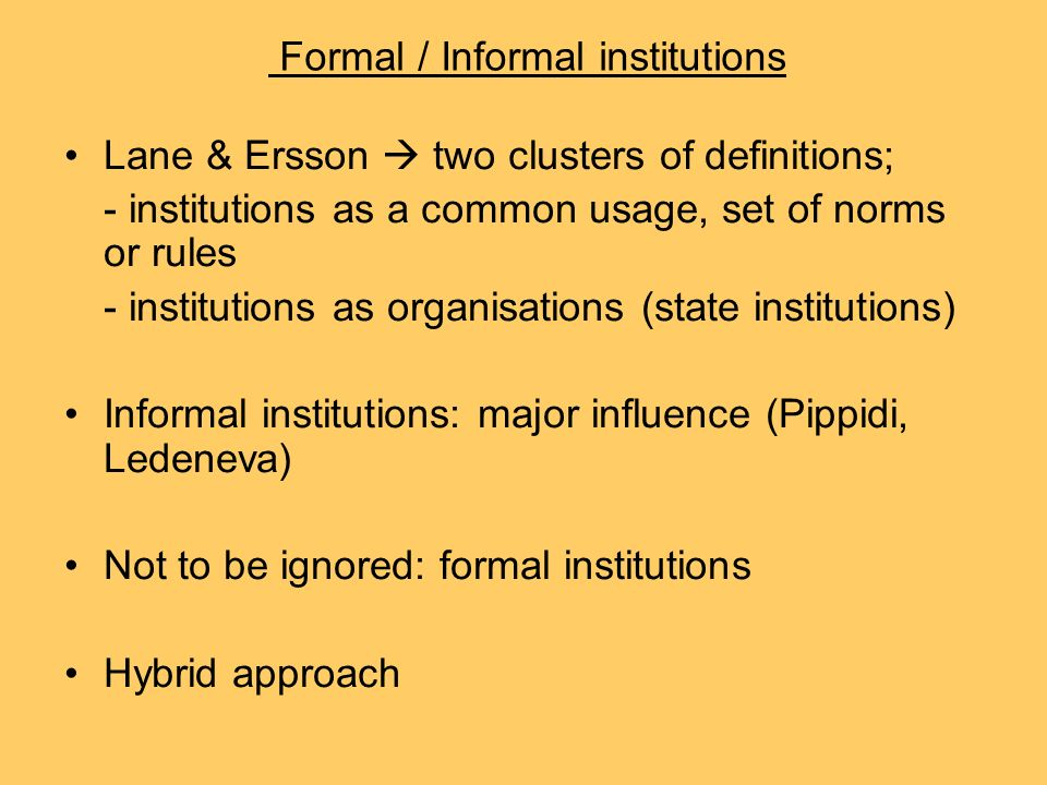 what is the importance of informal institutions politics essay In the following third step i treat the relationships between political informal  institutions and  regularities and structures are important aspects of informal  institutions, but they cannot be  the collection of essays by arnold j  heidenheimer.