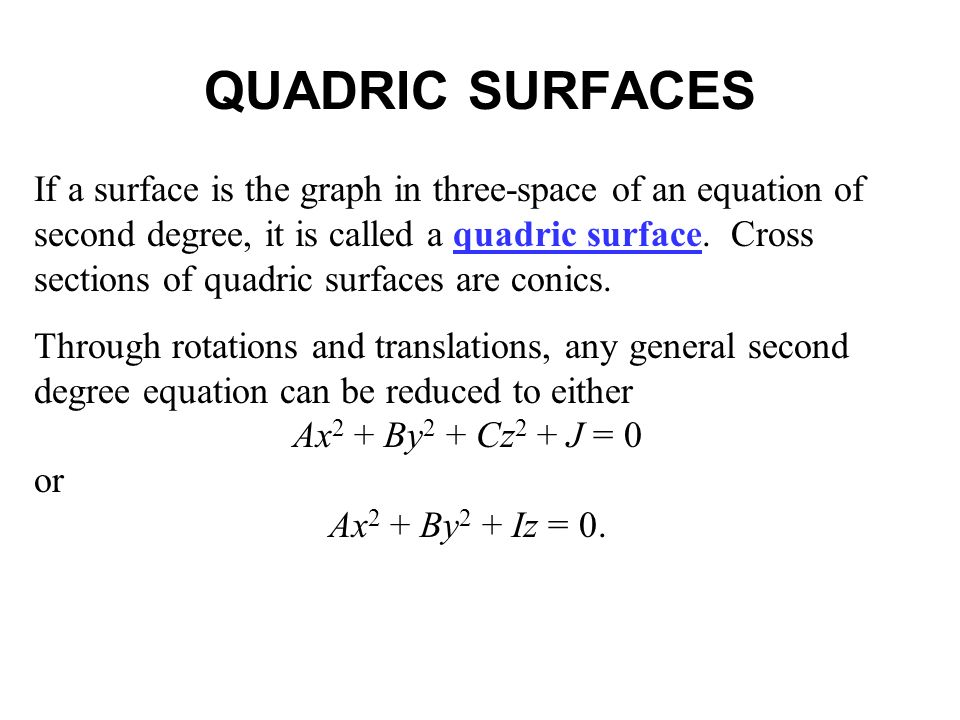 Cylinders and Quadric Surfaces - ppt video online download