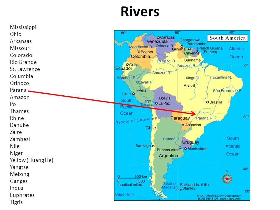 Mountains Rockies Sierra Nevada Appalachian Sierra Madre E W - World map parana river