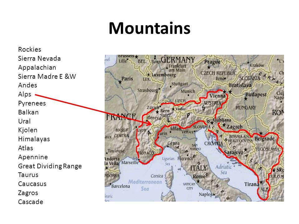Mountains Rockies Sierra Nevada Appalachian Sierra Madre E W - Appalachian and rockies on us map