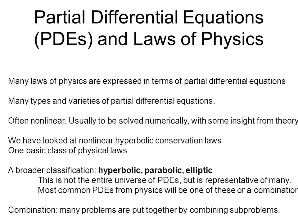 Different types of partial differential equations