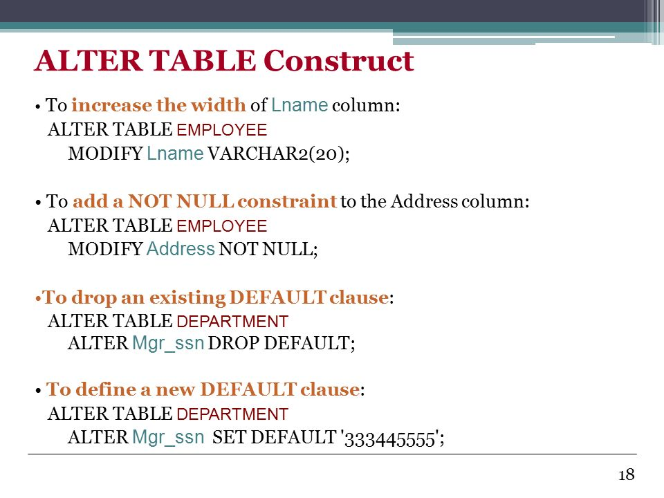Introduction to database systems ppt video online download - Alter table modify default ...