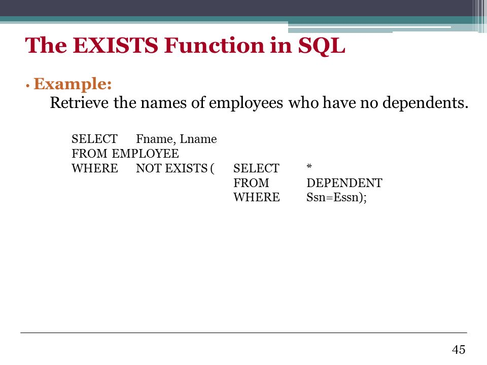 exists in sql