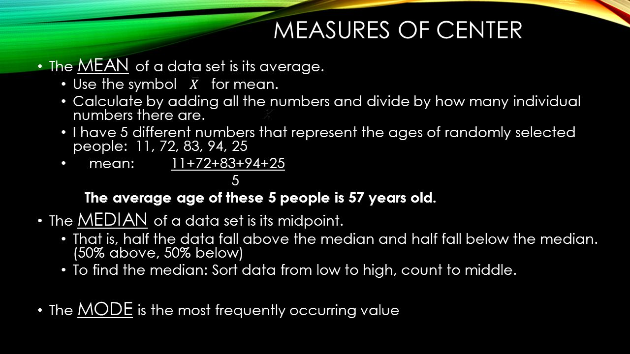Algebra 1 statistics part 1 unit ppt download measures of center the mean of a data set is its average biocorpaavc Images