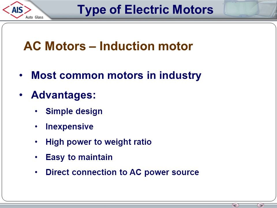 Electric motors electric motors ppt download for Advantages of ac motor