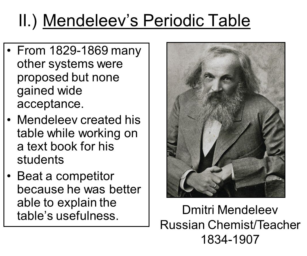 who invented the periodic table Trailblazing chemist dmitri mendeleev (february 8, 1834–february 2, 1907) came to scientific greatness via an unlikely path, overcoming towering odds to create the.