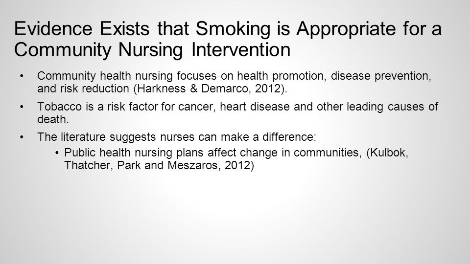 health promotion action plan for nurses smoking cessation Catriona mill mhsc, bscn, rn, cchn(c), health promotion specialist,   increase readiness for pregnancy, whether or not they plan to have children   promotion of tobacco use cessation and restriction of exposure to second hand  smoke.