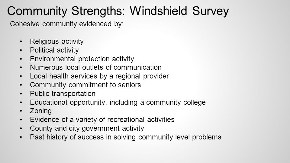 community windshield survey Abstract a windshield survey can be described as a form of information gathered by an individual after traversing through a particular neighborhood it is.