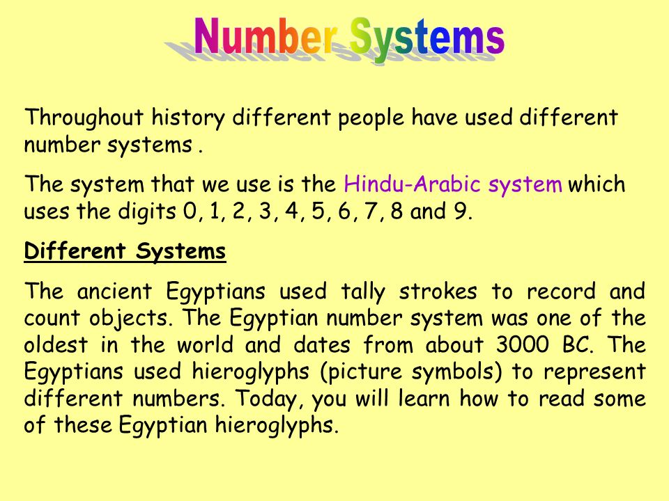 Number Systems Throughout History Different People Have Used